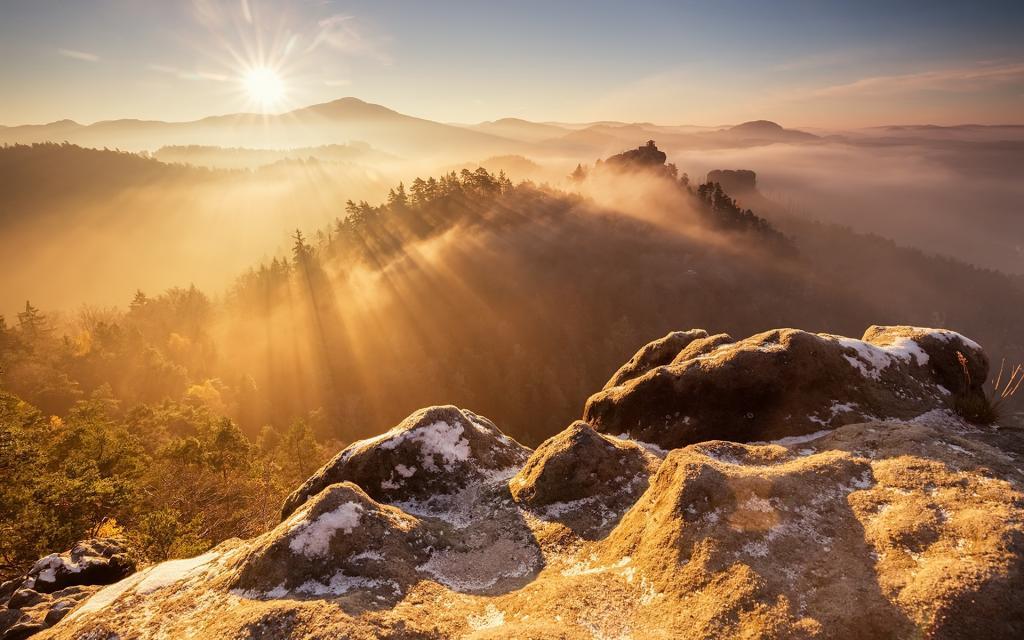 早晨,光,山