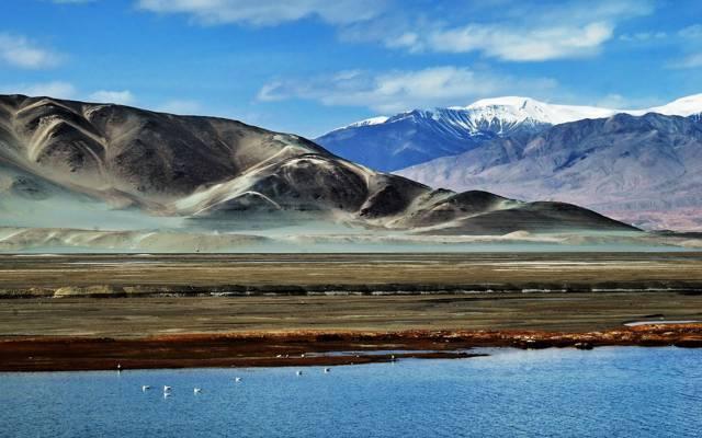 天空,湖泊,山脉,云彩,帕米尔