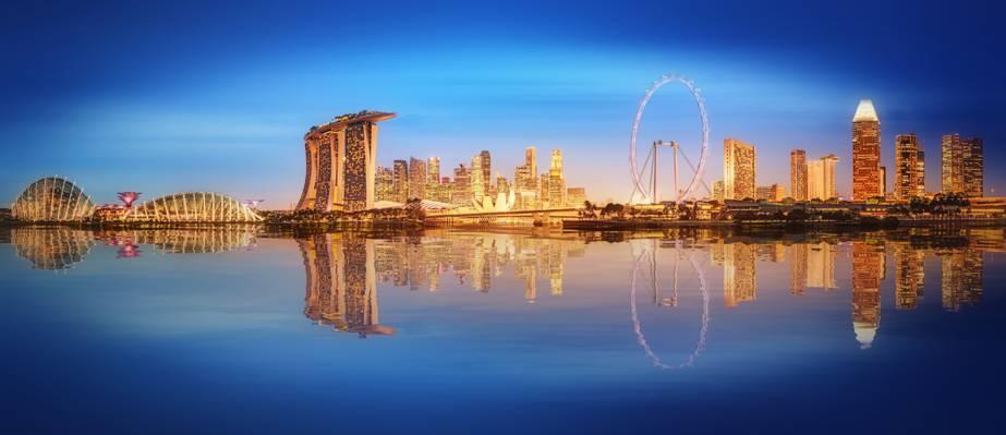 连城,摩天大楼,建筑,蓝色,灯,海,灯,喷泉,晚上,新加坡,景观