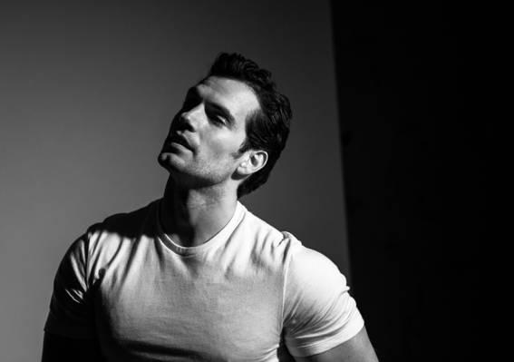 壁纸演员,男士健身,T恤,黑色和白色,亨利·卡维尔,亨利·卡维尔,肖像