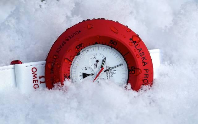时钟,雪,欧米茄,红色,白色