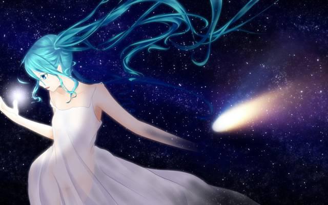 蓬塔,初音未来,艺术,动漫,女孩,星星,天空,vocaloid