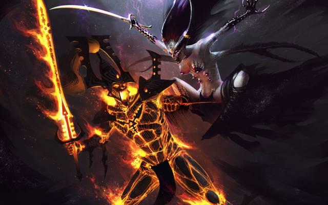 战斗,恶魔,混乱,埃尔达尔,秘密的守护者,战锤40k,秘密守护者,头像