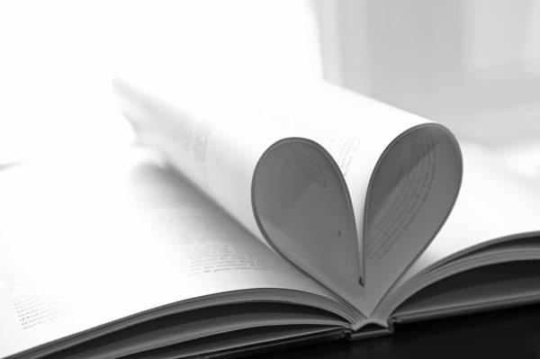 心,黑色和白色,页,书,心