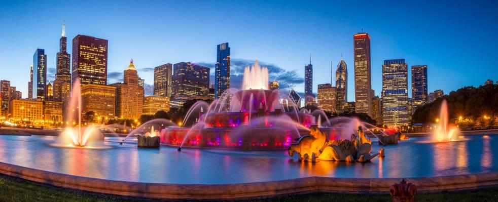 芝加哥,设计,喷泉,家,全景,灯,晚上,天空,白金汉喷泉,白金汉喷泉,美国