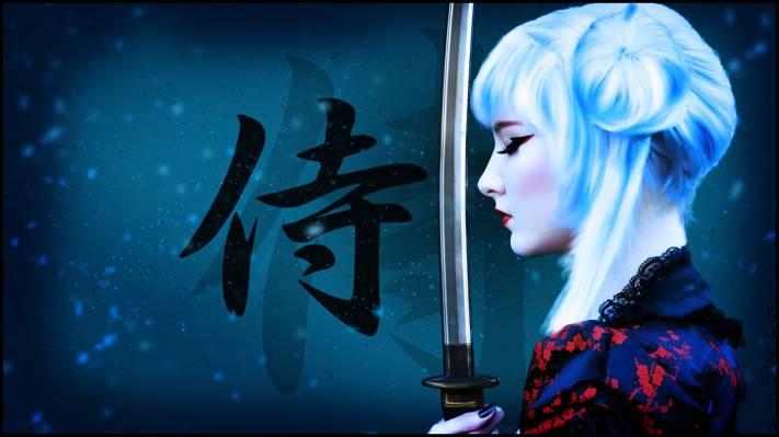 武器,背景,艺术,金发,战士,发型,化妆,图,剑,女孩,武士刀,字符,武士