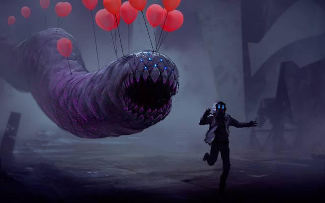 人,蠕虫,气球,浪漫的启示,气球,奔跑,球