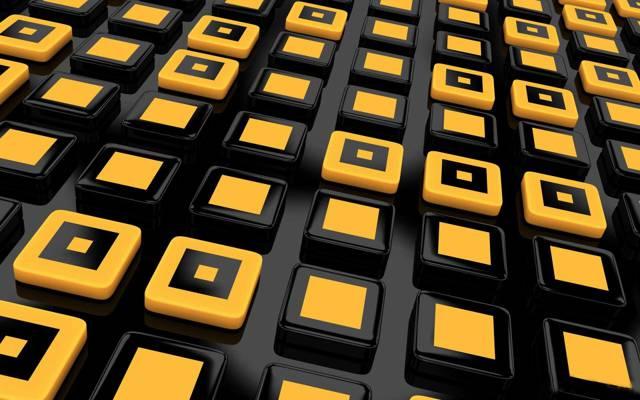 多维数据集,黄色,黑色的背景