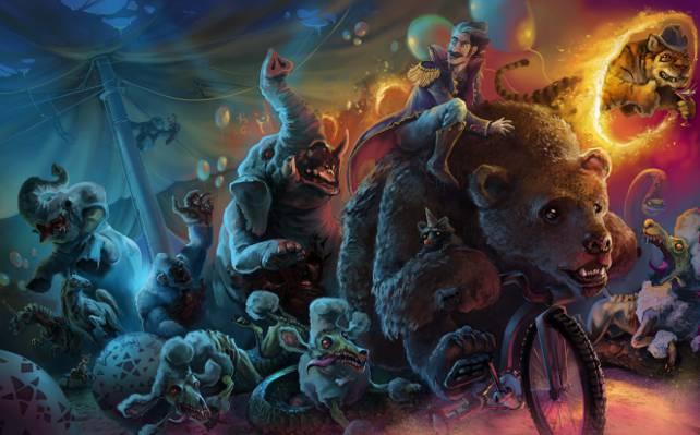 熊,大象,自行车,马戏团,艺术,狗,僵尸,人,动物,危险,贵宾犬
