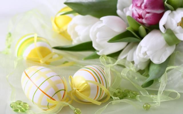 鲜花,复活节,鸡蛋,丝带,鸡蛋,磁带