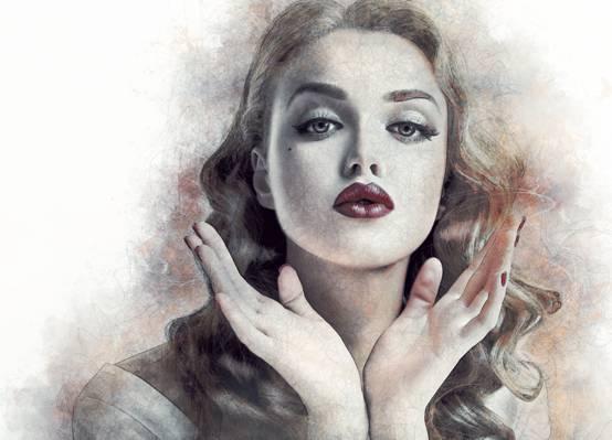 肖像,手,女孩,嘴唇,艺术,脸