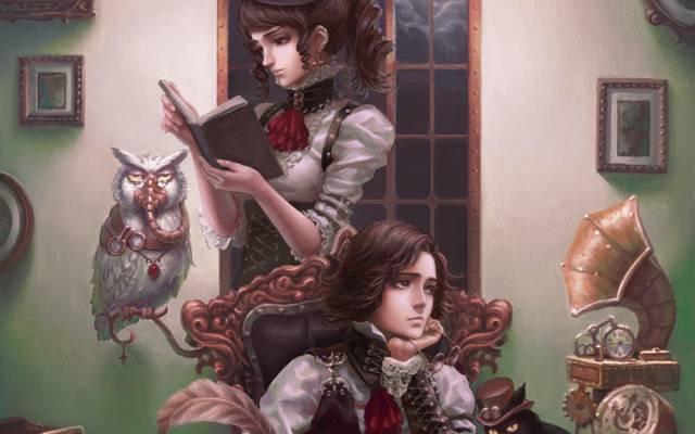 家伙,猫头鹰,蒸汽朋克,书,女孩,留声机,猫,图片