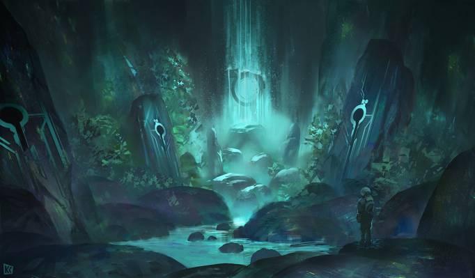 艺术,符文,瀑布,巨石,人,水,流,洞穴,石头,selni