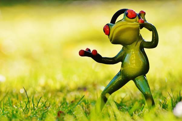 绿色的青蛙,耳机高清壁纸