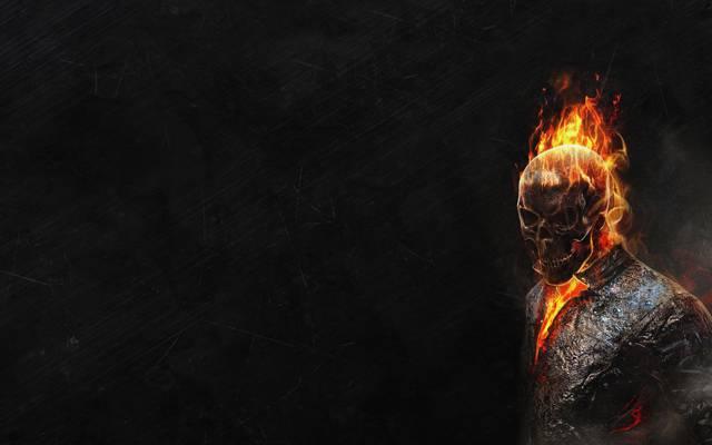 红色,黑暗的背景,骨架,鬼骑士,鬼骑士,火