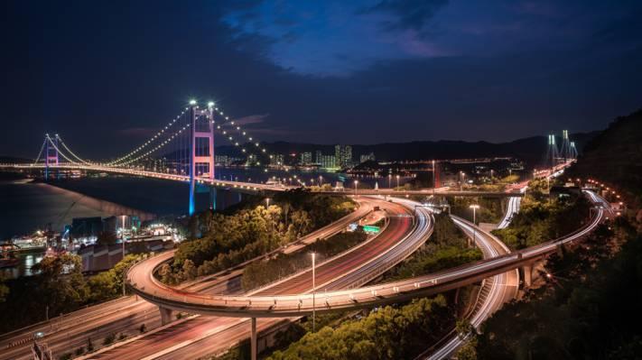 香港,桥,夜间城市,青马桥,青马桥,中国,中国,海峡...