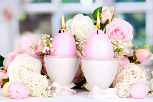 复活节,鲜花,复活节,鸡蛋,蜡烛,蜡烛,玫瑰