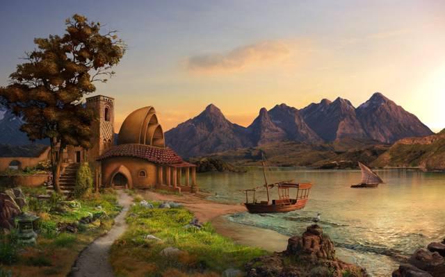 最大的安东诺夫,湖,房子,船舶,山脉,艺术,帆船