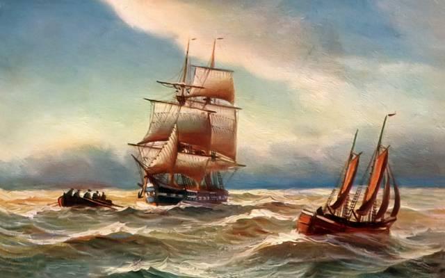 图片,船,船,风暴,阿尔弗雷德·詹森,人,海,波浪,风帆,天空,风景