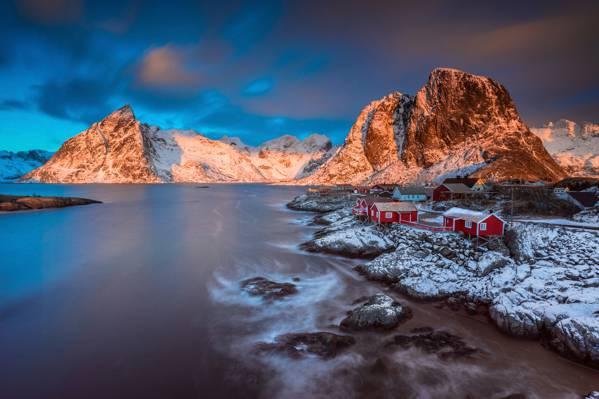 解决,早上,罗弗敦群岛,光,雪,山,ANWR,冬季,Fylke诺德兰,镇,市...