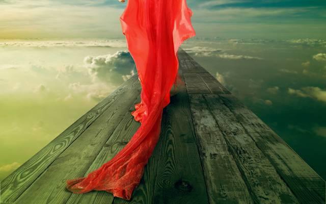 桥,火车,环,天空,穿红衣服的女孩,红,云