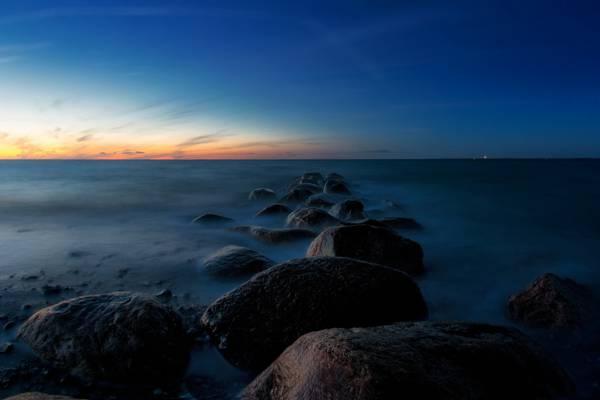 海,景观,夜晚,石头