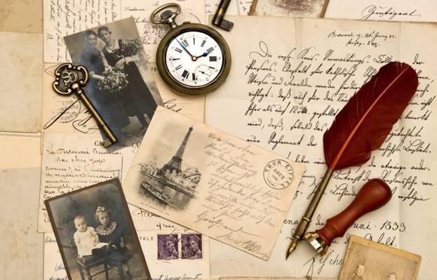 复古,笔,关键,手表,邮票,字母,棕褐色,旧纸,照片,复古