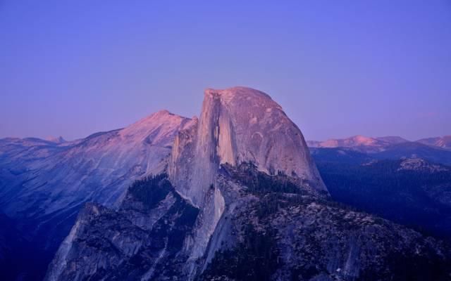 花岗岩岩石,半圆顶,日落,优胜美地国家公园,月光,CA,美国