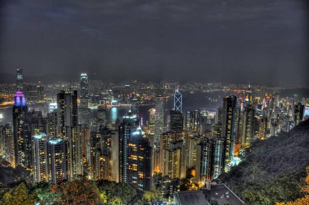 高层建筑,香港,维多利亚高峰高清壁纸鸟瞰图
