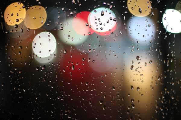 灯,水,模糊,雨高清壁纸
