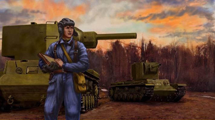 军队,平板电脑,指挥官,ww2,苏联,艺术,重型,KV-2,坦克,Klim Voroshilov