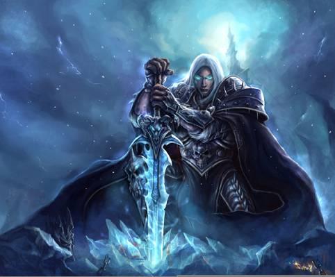 巫妖王,阿尔萨斯Menethil,魔兽世界,魔兽世界,阿尔萨斯Menethil,艺术