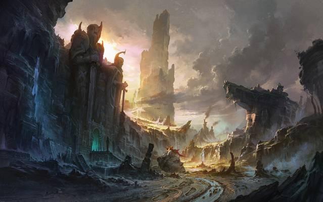 日出,山,艺术,瀑布,雕像,入口,废墟,放弃,硕大,峰,景观,岩石,河,云,日落