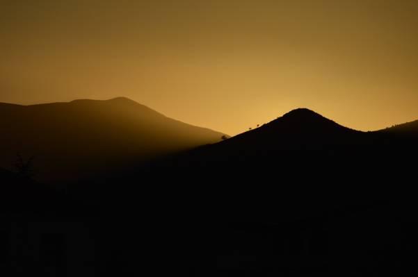 早上,山,景观