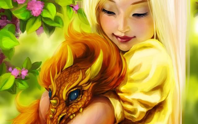 女孩,鲜花,龙,鲜花,微笑,幻想,艺术,龙,女孩,幻想,微笑,墨水壶,幻想