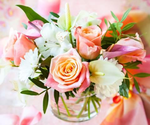 鲜花,粉彩,花束,玫瑰,花束,玫瑰