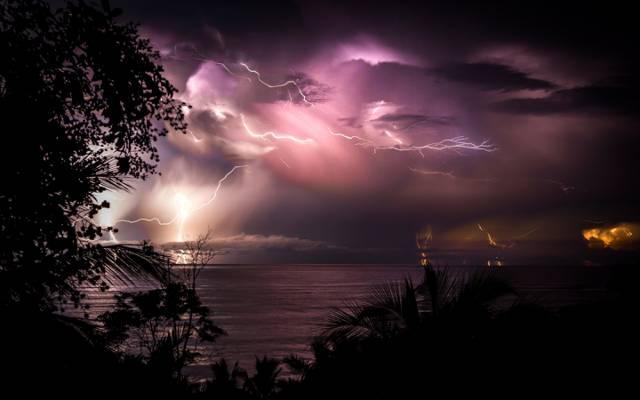 云,哥斯达黎加,夜晚,水,拉链