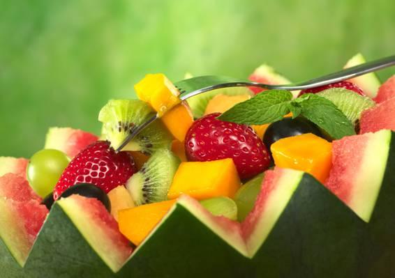 浆果,水果沙拉,西瓜,猕猴桃,水果,草莓