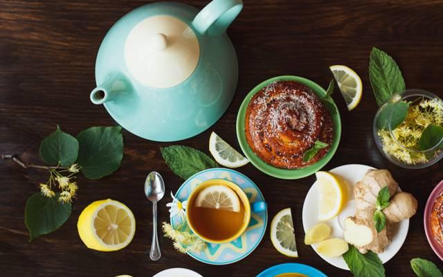 茶,发髻,柠檬,草药,草,杯,蛋糕,茶,柠檬,杯