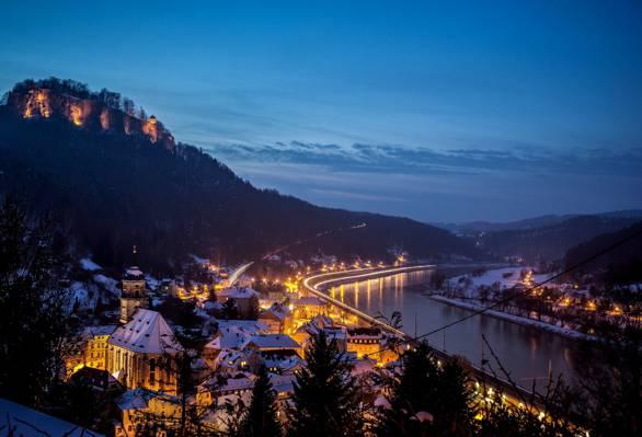 山,国王石,雪,德国,冬天,德国,家,城市,要塞,晚上,区...