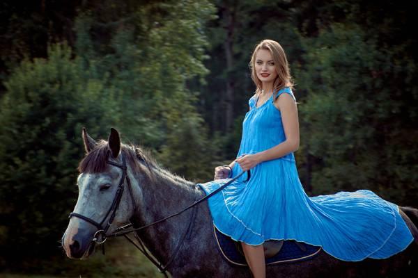 马,森林,女孩,美丽,化妆,散景,发型,树,步行,棕色的头发,蓝色,自然,骑手