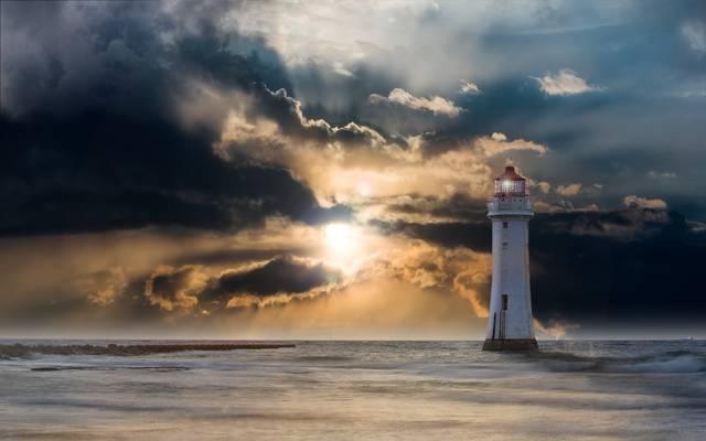 黄昏期间的白色灯塔高清壁纸