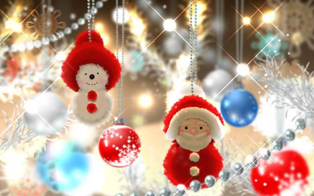 雪人,圣诞老人,树,新的一年,珠子,艺术,玩具