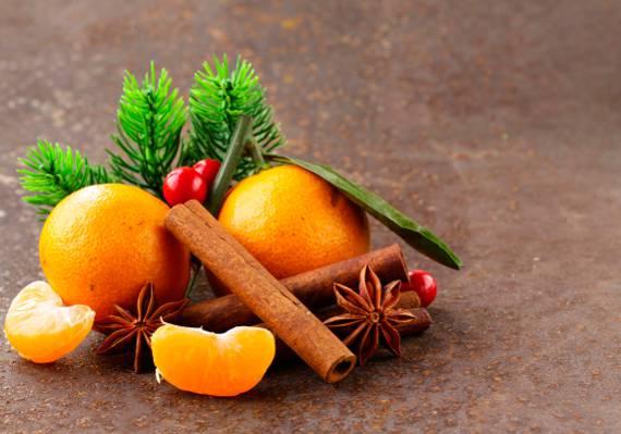 散景,切片,八角茴香,松枝,八角,特写,橘子,肉桂