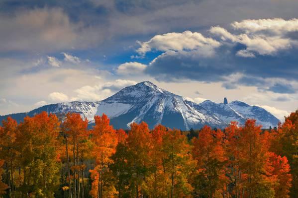 雪,山,自然,树,云,天空,秋天,森林