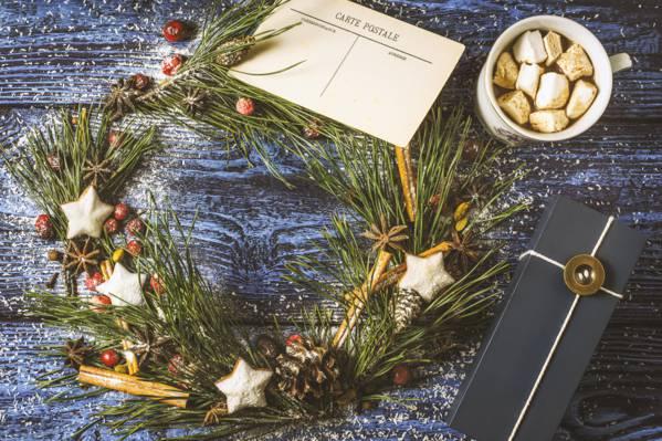 壁纸圣诞节,杯子,新年,圣诞快乐,饼干,棉花糖,新年,圣诞节,饼干,装饰,棉花糖,姜饼,...