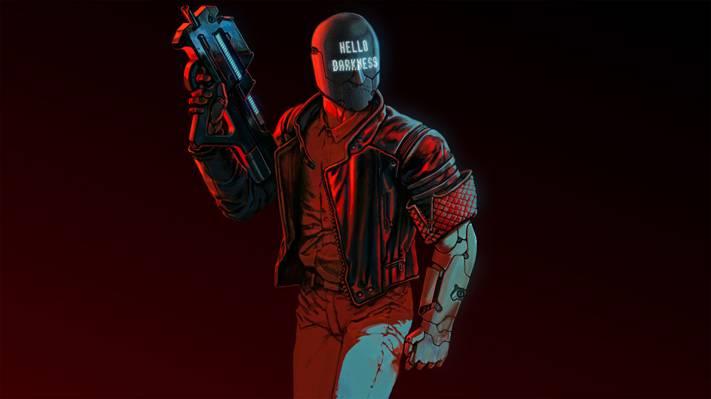 射手,赛博朋克,2017年,字符,头盔,艺术,背景,RUINER,武器
