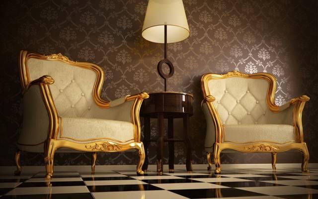 壁纸的舒适,与方形马赛克地板,轻木桌,优质皮革,扶手椅与装饰品,画金...