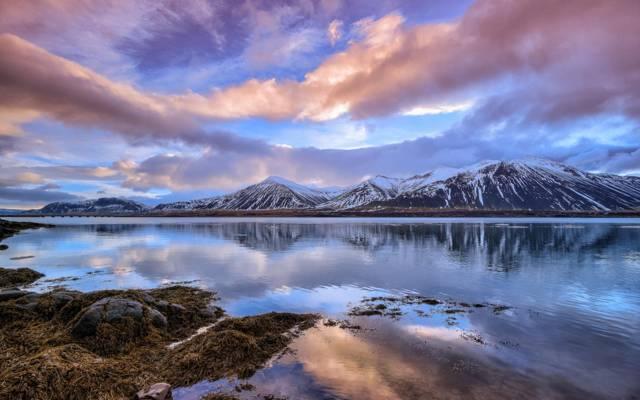 雪,湖,河,山,冬天