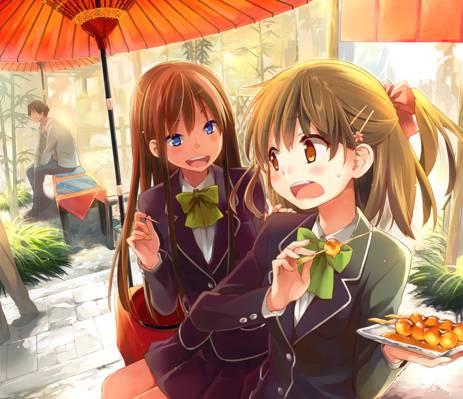 艺术,女学生,坐在,伞,动漫,食品,竖立,女孩